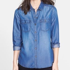 Nordstrom Halogen Chambray Button Up Top